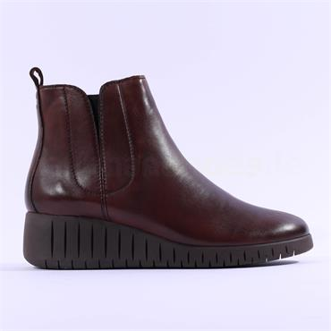 Marco Tozzi Ceraso Leather Wedge Boot - Brown Leather