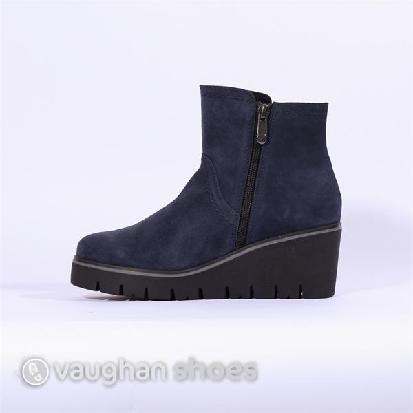 90884c7afa1bf7 Marco Tozzi Platform Suede Wedge Boot - Navy