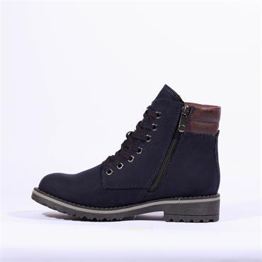 Marco Tozzi Lace Up Ankle Boot Sestino - Navy Bordo Combi