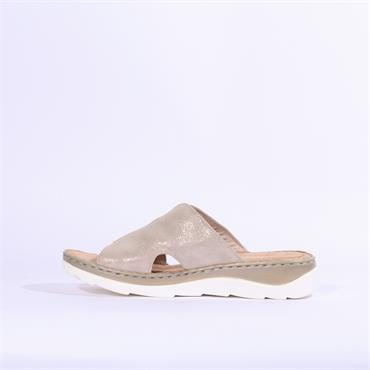 Marco Tozzi Leather Low Mule Sandal - Dune