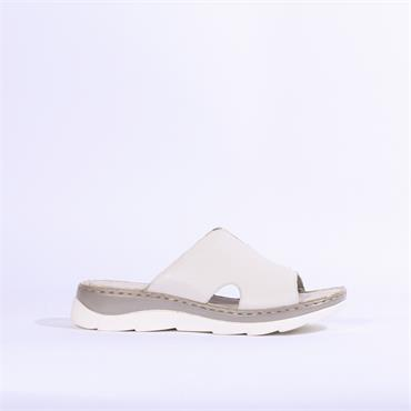 Marco Tozzi Leather Low Mule Sandal - White