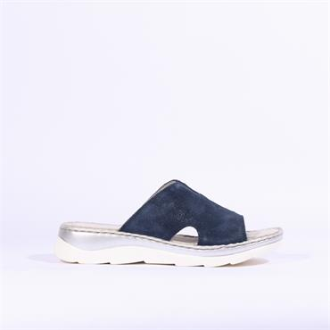 Marco Tozzi Rigola Leather Mule Sandal - Navy Leather