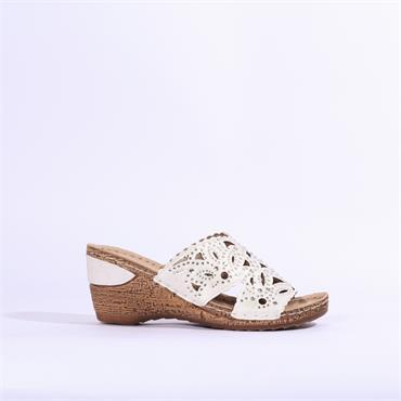 Marco Tozzi Wedge Mule Sandal Studs - Silver