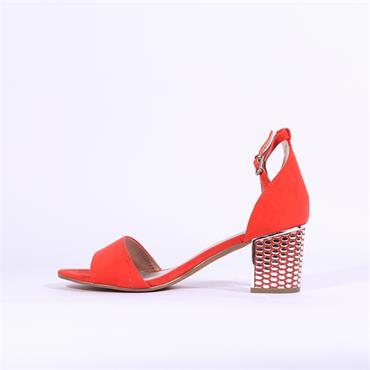 Marco Tozzi Paduli Pattern Heel Sandal - Coral