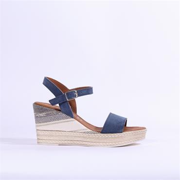 Marco Tozzi Carmen Leather Wedge Sandal - Denim