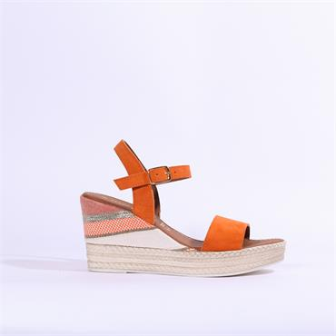 dd1d017d48ad8 Marco Tozzi Carmen Leather Wedge Sandal - Orange ...