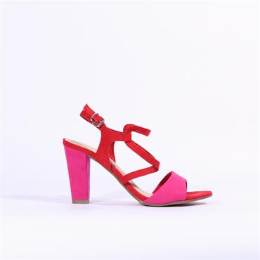 Marco Tozzi Carda High Block Heel Sandal - Red Combi