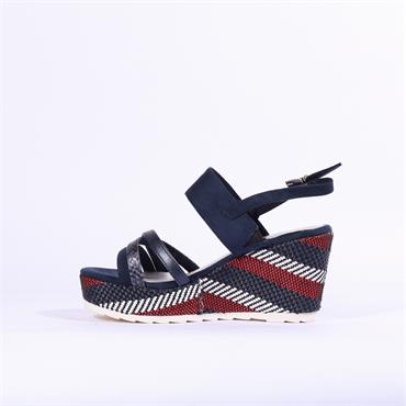 Marco Tozzi Frezio Wedge Sandal - Navy Red