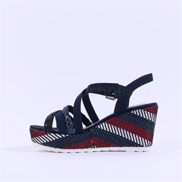 Marco Tozzi Frezio Wedge Buckle Sandal - Navy Red