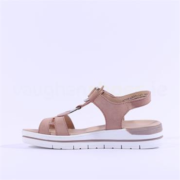 Marco Tozzi Barmo Ring Detail Sandal - Rose Nubuck
