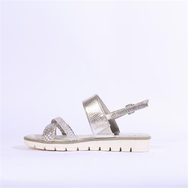 Marco Tozzi Cris Cross Slingback Sandal - Silver