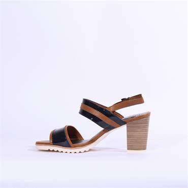 Marco Tozzi 2tone High Heel Strap Sandal - Navy Tan