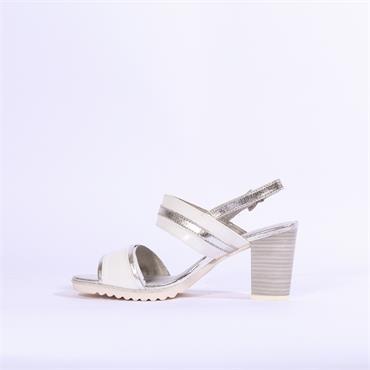 Marco Tozzi 2tone High Heel Strap Sandal - White Silver