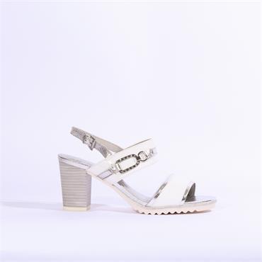 0fc058f8a9f Marco Tozzi 2tone High Heel Strap Sandal - White Silver ...
