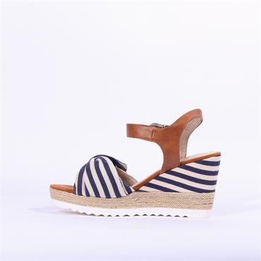 Marco Tozzi Bow Wedge Sandal Tissa - Navy Combi