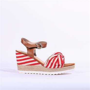 Marco Tozzi Bow Wedge Sandal Tissa - White Red