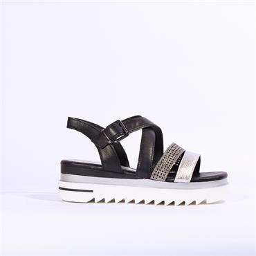 Marco Tozzi Sosi Cleated Sole Sandal - Black Silver