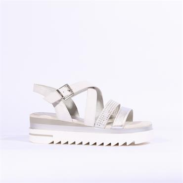 Marco Tozzi Sosi Cleated Sole Sandal - White Silver