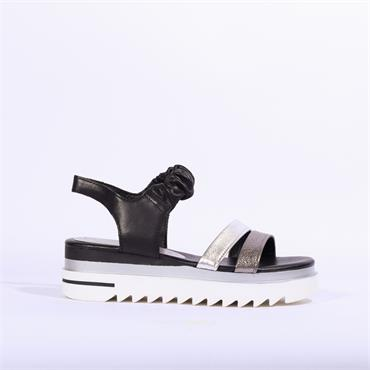 Marco Tozzi Leather Scrunch Strap Sandal - White Silver Black