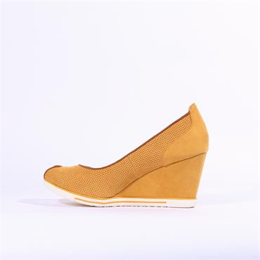 Marco Tozzi Cavi Peep Toe Wedge - Yellow