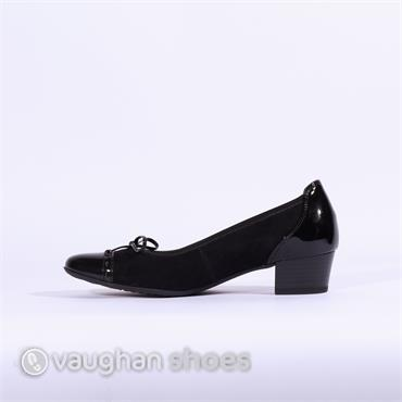 Gabor Low Tie Court Shoe Islay - Black
