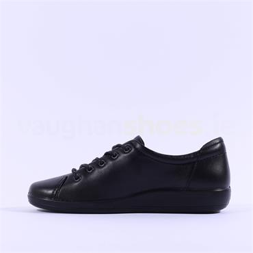 Ecco Women Soft 2.0 Laced - Black Leather