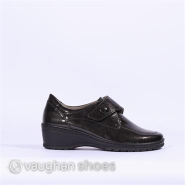 Jenny Wedge Shoe With Velcro Strap - Grey