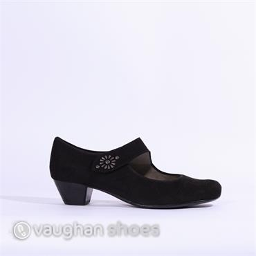 Jenny Low Court Velcro Strap Catania - Black Suede