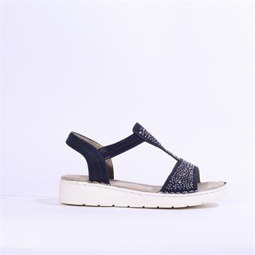 Ara T-Bar Sandal Diamonte Detail - Navy