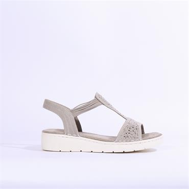 Jenny Korsika T Bar Sandal Diamante Stud - Light Grey