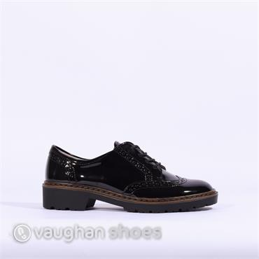 Ara Brogue Laced Shoe - Black Patent