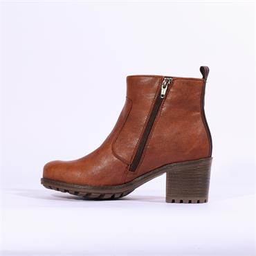 Jenny Madison Block Heel Boot - Cognac