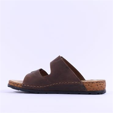 Rieker Men Double Buckel Mule Sandal - Brown Leather