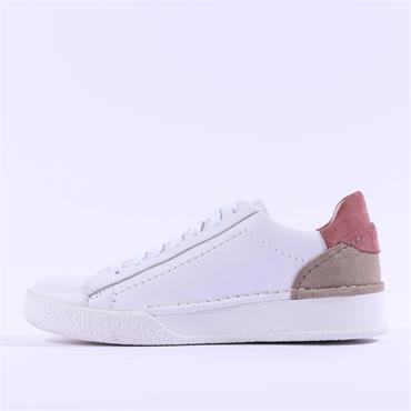 Clarks Women Craft Cup Lace - White Combi Leather
