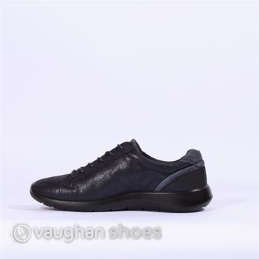 Ecco Soft 5 Side Zip Croc Leather - Navy
