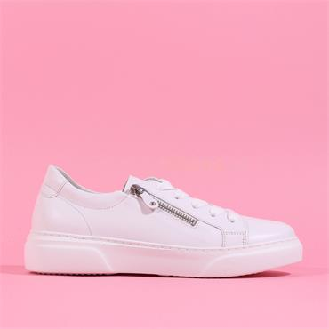 Gabor Laced Platform Shoe With Side Zip - White Leather