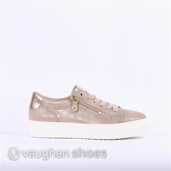 e4770aa634b Gabor Laced Platform Shoe With Side Zip - Light Gold
