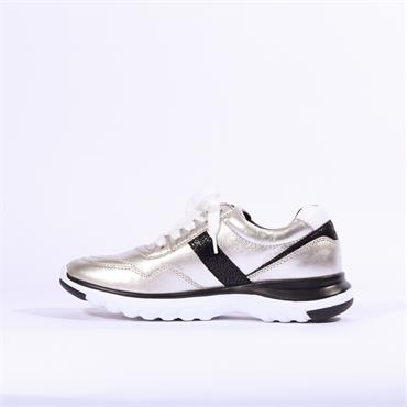 Gabor Glenapp Comfort Trainer Side Zip - Silver Metallic