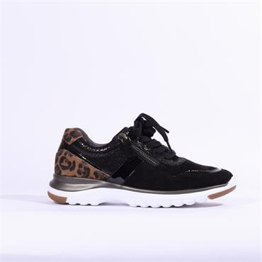 Gabor Glenapp Comfort Trainer Side Zip - Black Leopard