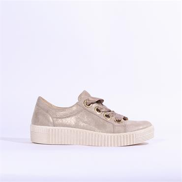 Gabor Wright Chunky Sole Ribbon Trainer - Mushroom Shimmer