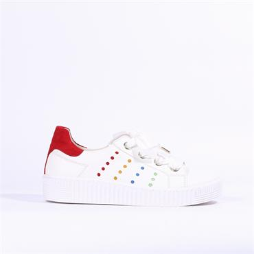 Gabor Multi Dot Ribbon Lace Trainer Work - White Leather