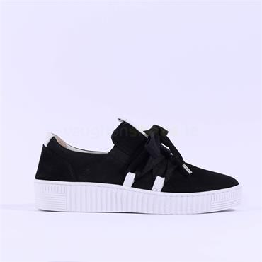 Gabor False Ribbon Lace Trainer Waltz - Black Suede