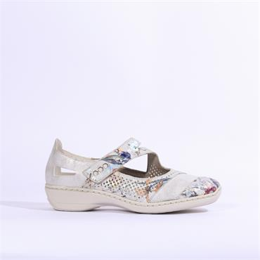 Rieker Comfort Shoe With Velcro Madeira - Silver Multi