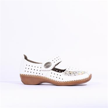 Rieker Perforated Shoe With Velcro Strap - White