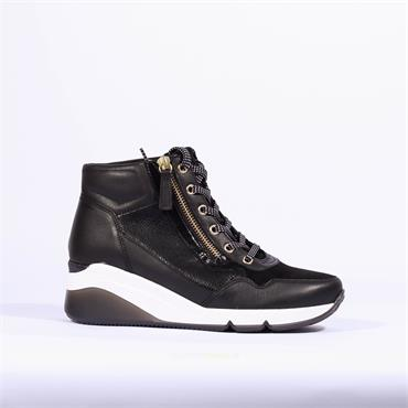Gabor Side Zip Wedge Trainer Patricia - Black Gold