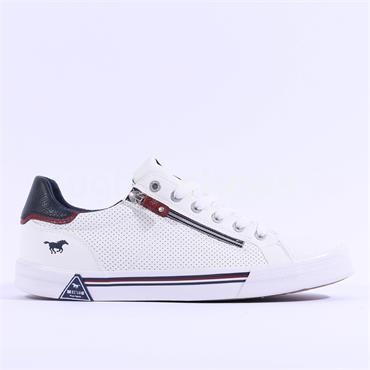 Mustang Men Side Zip Laced Trainer - White