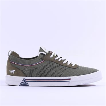 Mustang Men Fabric Laced Trainer - Olive