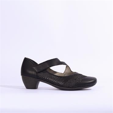 Rieker France Low Heel Velcro Strap - Black