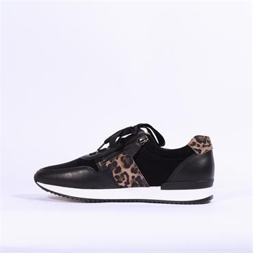 Gabor Lulea Lace Up Side Zip Trainer - Black Leopard