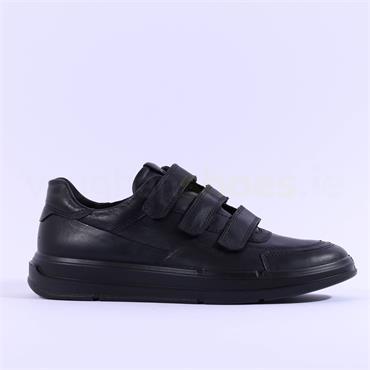 Ecco Men Soft X Velcro Strap Shoe - Black Leather